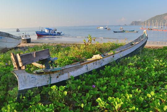 kapal besar dikelilingi semak sedang bersandar di pantai kuta lombok