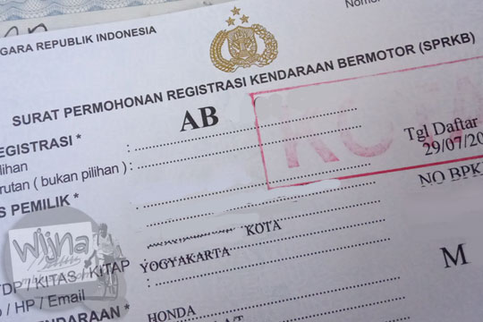 surat permohonan registrasi kendaraan bermotor