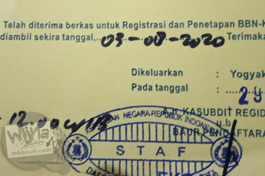 surat tanda terima registrasi kendaraan bermotor