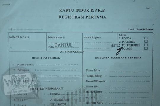 kartu induk bpkb registrasi pertama