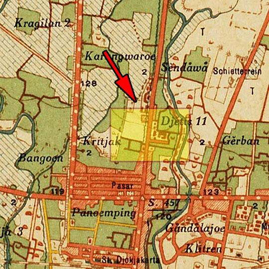peta perempatan kecamatan jetis di kota jogja pada tahun 1920