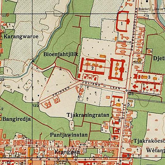 peta perempatan kecamatan jetis di kota jogja pada tahun 1925