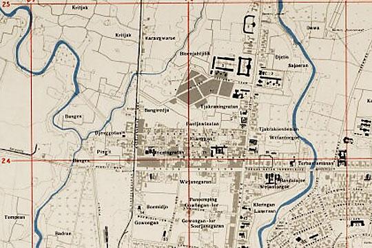 peta perempatan kecamatan jetis di kota jogja pada tahun 1945