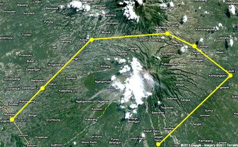 rute perjalanan bersepeda keliling gunung merapi dari Jogja - Klaten - Boyolali - Magelang