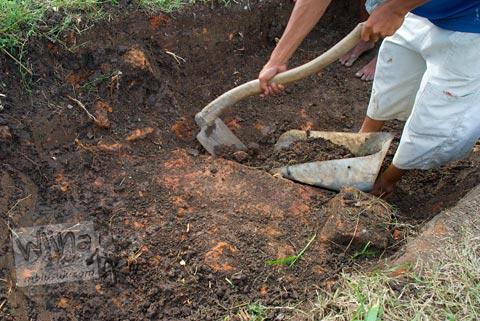 Foto penggalian ekskavasi di situs Batujaya, Karawang, Jawa Barat pada tahun 2009