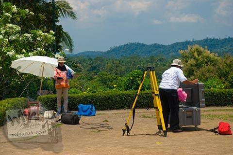 Foto proyek pemetaan struktur luar Candi Borobudur, Magelang, Jawa Tengah pada tahun 2009