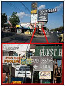 Foto papan petunjuk arah ke Candi Gebang di pinggir ringroad di tahun 2008