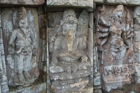 Foto arca Agastya, Ganesha, dan Durga di Candi Gedong 3 di Candi Gedong Songo, Ambarawa Semarang, Jawa Tengah di tahun 2009