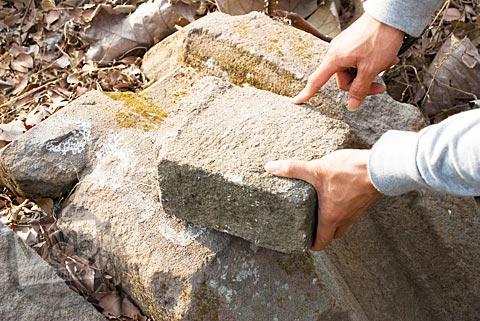 Batu andesit yang ditemukan di sekitar situs Candi Abang, Berbah pada Juli 2008