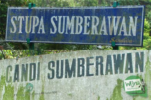 Papan nama Candi Sumberawan di Toyomarto, Singosari, Malang, Jawa Timur