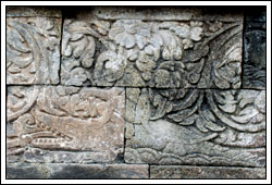 foto relief binatang di candi mendut