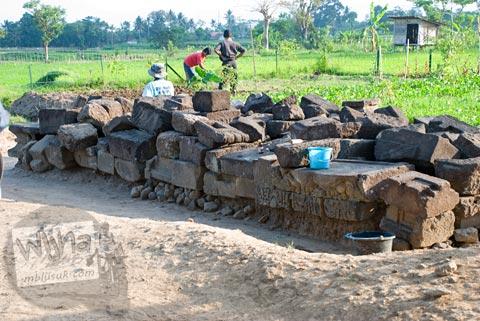 Foto aktivitas warga bertani di halaman Candi Karangnongko, Karangnongko, Klaten, Jawa Tengah jaman dulu di tahun 2008