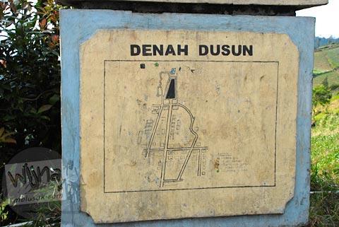 Peta desa yang menunjukkan rute dan lokasi Candi Kethek di Karanganyar Jawa Tengah