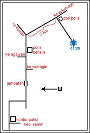 Peta arah menuju Candi Risan di Semin, Gunungkidul pada tahun 2009
