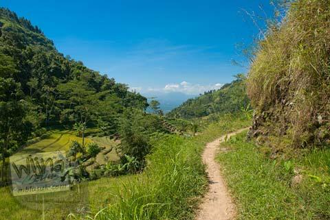 Foto jalan setapak sempit menuju Candi Selogriyo, Magelang, Jawa Tengah pada tahun 2009