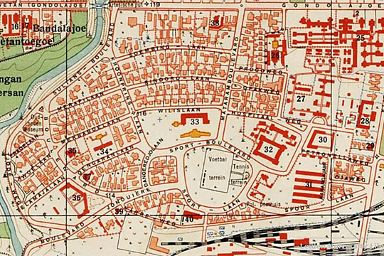 peta nama-nama jalan di kawasan kotabaru jogja pada tahun 1925