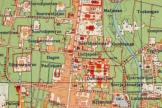 peta nama-nama jalan di kawasan malioboro jogja pada tahun 1925