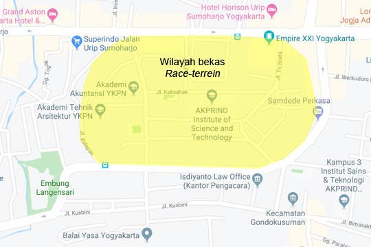 peta bekas arena lapangan pacuan balap kuda di kota yogyakarta