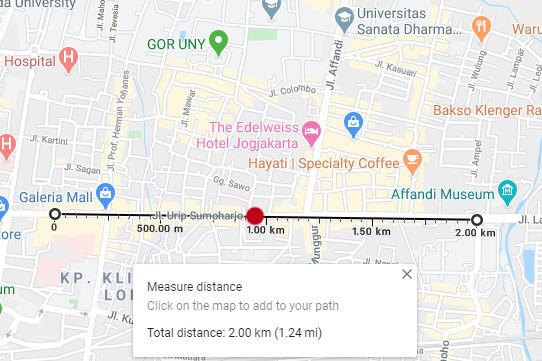 cara ukur jarak kilometer jogja solo km 4 menggunakan google maps