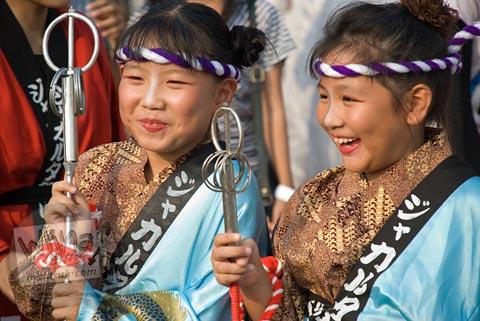 Foto miko anak-anak di Jak-Japan Matsuri tahun 2009 di Lapangan Monas, Jakarta