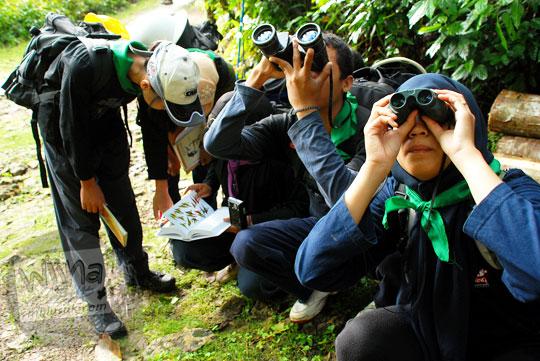 kegiatan bird watching mengamati kehidupan burung di alam bebas sekitar gua kiskendo menggunakan teropong binokuler pada kegiatan NAMES yang diselenggarakan oleh MATALABIOGAMA UGM