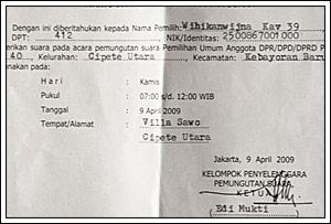 contoh surat undangan C4 pada Pemilu legislatif Indonesia tahun 2009