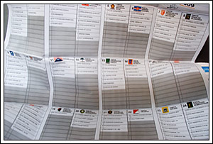 contoh kertas suara pada Pemilu legislatif Indonesia tahun 2009