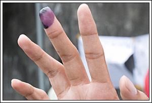 contoh tinta jari susah hilang pada Pemilu legislatif Indonesia tahun 2009