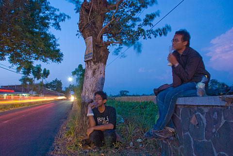 Minum Susu murah Boyolali di Pinggir Sawah.