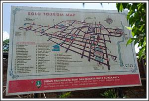 Baliho Peta Wisata Kota Solo tempo dulu