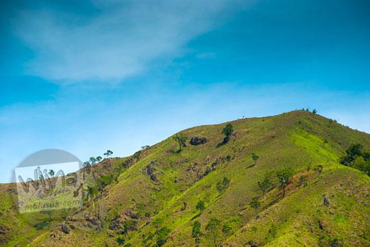foto puncak bukit hijau indah di dekat air terjun Kuta Malaka, Aceh Besar pada zaman dulu september 2014