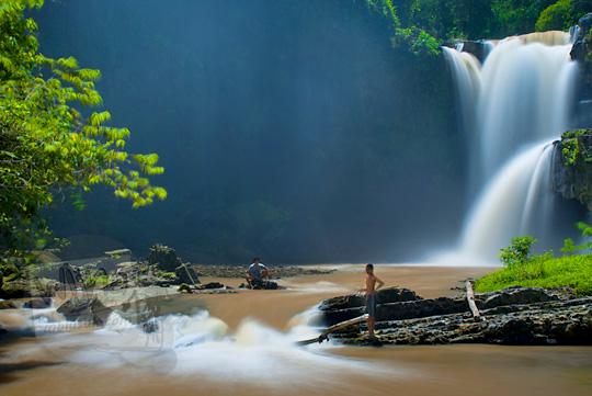 warga desa memancing di sungai Tukad Petanu dengan latar air terjun tegenungan, Bali