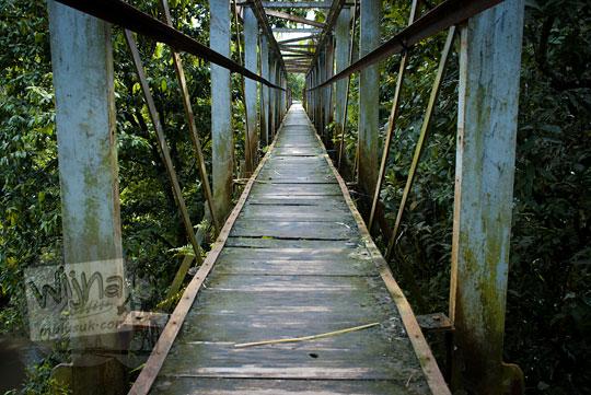 penampakan jembatan kayu payaman peninggalan belanda di argorejo, sedayu, bantul zaman dulu pada tahun 2011
