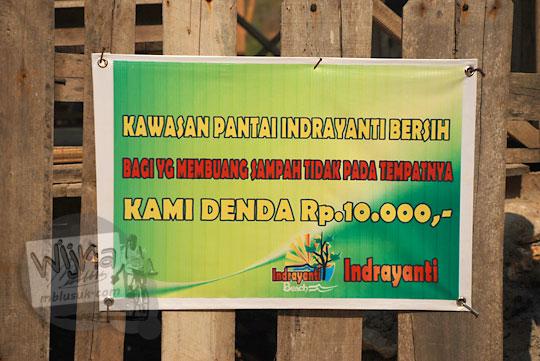 Rincian tarif denda kebersihan di Pantai Indrayanti atau Pantai Pulang Syawal Gunungkidul pada zaman dulu bulan Juli 2012