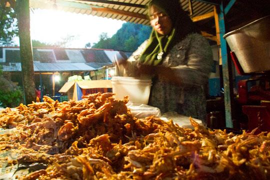 Warung yang menjual aneka jajanan udang dan kepiting goreng tepung enak harga murah meriah khas asli Yogyakarta di Pantai Kukup Gunungkidul pada zaman dulu bulan Juli 2012