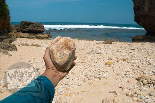 batu-batu purba yang ada di pantai ngunggah, gunungkidul pada zaman dulu Juni 2014