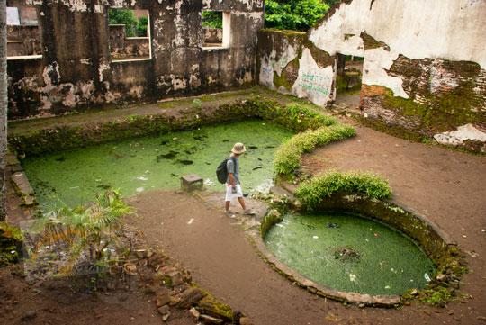 foto kolam pemandian selir dan putri raja di pesanggrahan rejowingangun peninggalan sultan hamengkubuwono ii di yogyakarta pada zaman dulu maret 2012