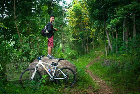 Jalan hutan yang tersembunyi di dalam hutan di pelosok Girimulyo, Kulon Progo, Yogyakarta pada zaman dulu April 2014