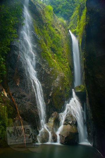 Penampakan air terjun tersembunyi bernama Curug Klanceng Putih di Desa Sedayu, Purworejo, Jawa Tengah