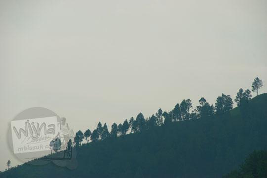 Pemandangan kabut pohon perbukitan yang muncul setelah hujan deras pada suatu sore di Kota Parapat di tepian Danau Toba pada September 2014