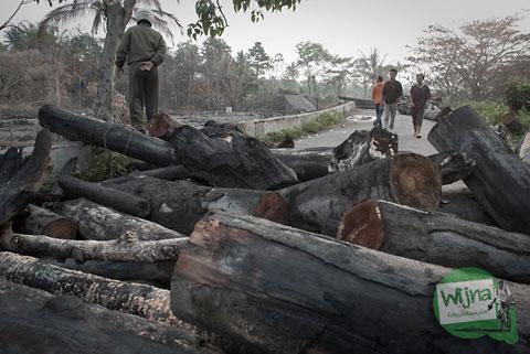 barikade pohon yang terbakar untuk menghalangi warga umum mendekat ke Kali Gendol pasca erupsi Merapi 2010